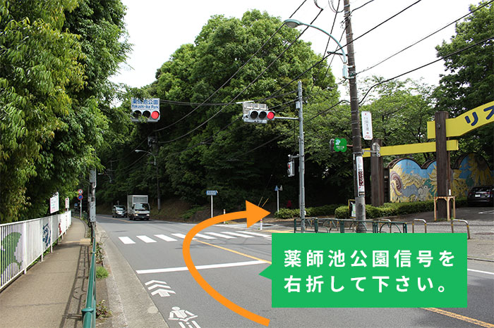薬師池公園信号を右折して下さい。